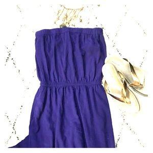 Strapless purple maxi